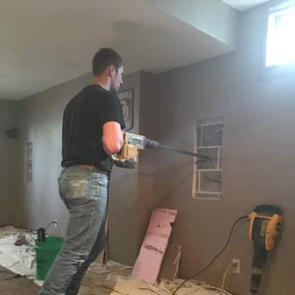 Bowed wall repair by BDB Waterproofing Omaha