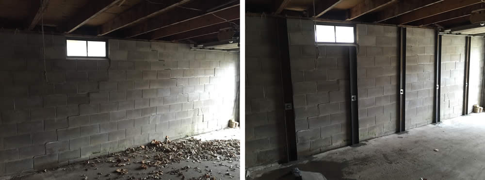 Braces on cracked foundation wall by BDB Waterproofing