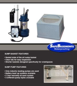 sump pump installation, sump pump alarm by BDB Waterproofing in Omaha