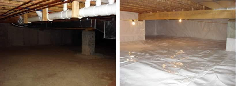 Crawl space repair and crawl space waterproofing before and after by BDB Waterproofing in Omaha, NE