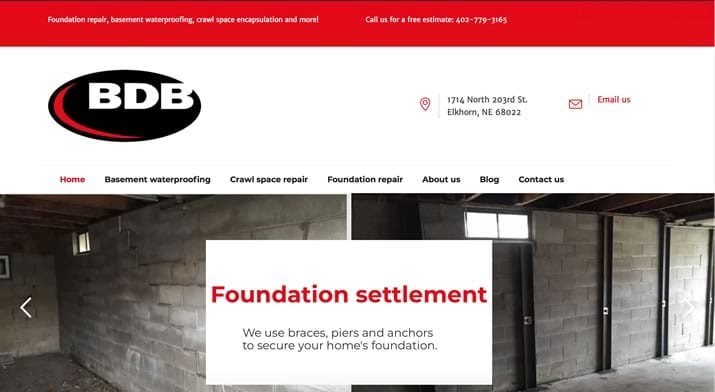 BDB Waterproofing website redesign