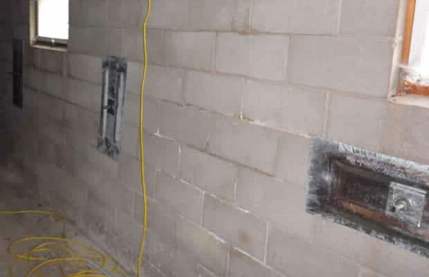 Bowed wall after repair by BDB Waterproofing