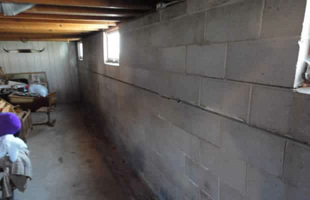 Bowed wall before BDB Waterproofing